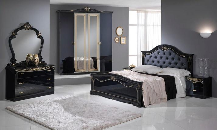 A Eva Black And Gold 4 Door Bedroom Set Italian Classic