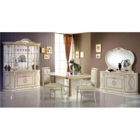 Venus Italian Cream & Gold EXT Dining Table & 6 Chairs