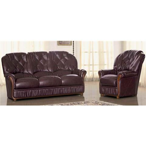 Angela Italian Full Leather 3 + 1 + 1 Sofa Suite