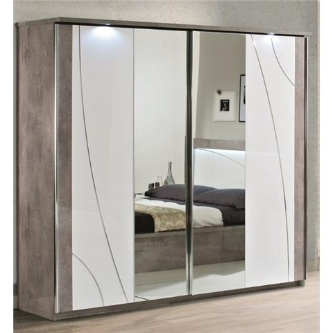 Milano Grey Highgloss 2 Door Sliding Wardrobe