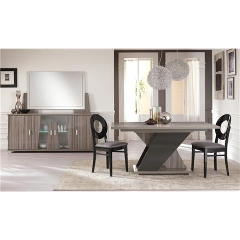 San Martino Glamour Grey Walnut Rectangular Wooden Table With Extension & 4 Dining Chairs