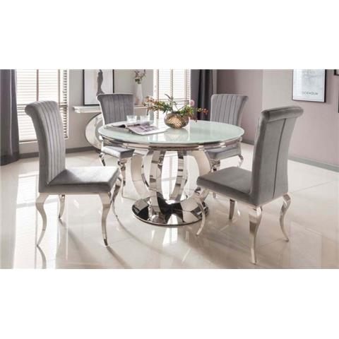 Vida Living Orion Round Dining Table Only - Glass and Chrome