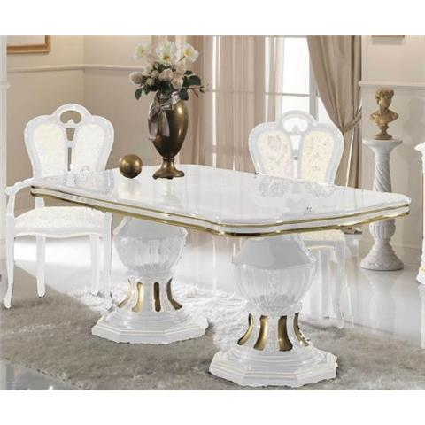 Ben Company Betty White and Gold Finish Italian Extension Dining Table and six Chairs