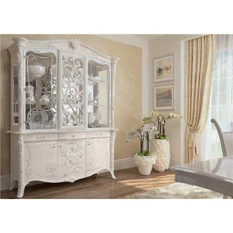 italian white furniture. giulietta italian ivory white 3 door glass unit furniture e