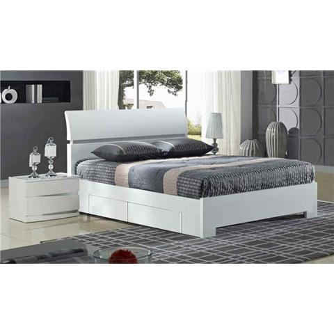 Widney 4 Drawer White Double Bed
