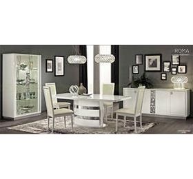 Roma White Highgloss Dining Table + 6 Chairs