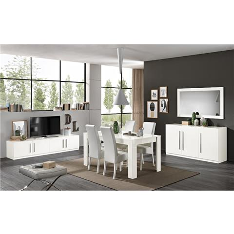 Greta White Highgloss Dining Table & 6 Chairs
