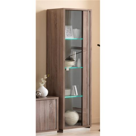 SAN MARTINO VICTOR OAK EFFECT ONE DOOR DISPLAY CABINET WITH LED LIGHT