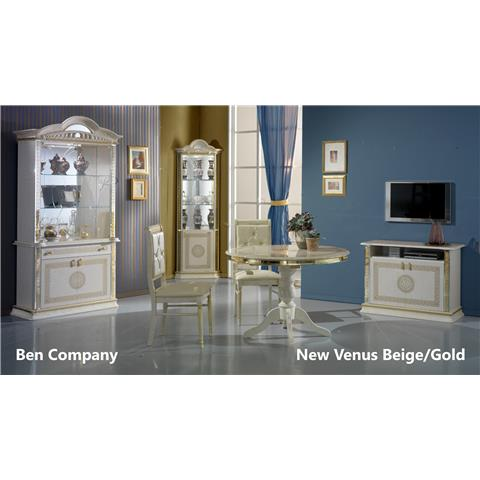 Venus Cream & Gold Round Table & 4 Chairs