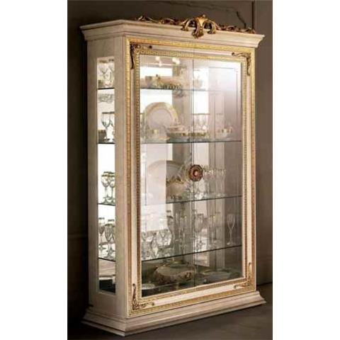 Arredoclassic Leonardo Golden Italian 2 Glass Door Display Cabinet