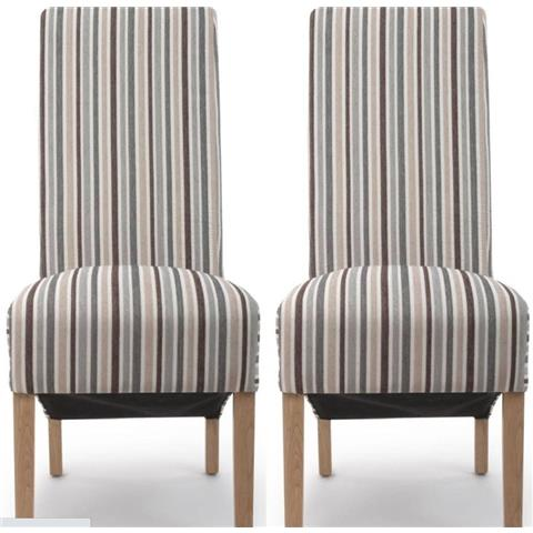 Shankar Krista Duck Egg Blue Chenille Stripe Accent Dining Chair (Pair)