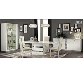 Onda White Highgloss Dining Collection + 6 Chairs