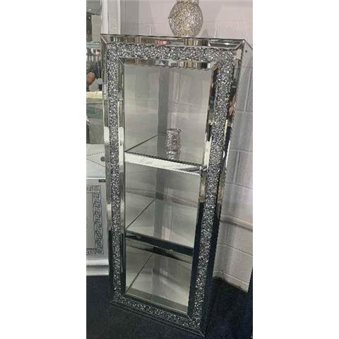 Tall Mirrored Crushed Crystal Display Collum
