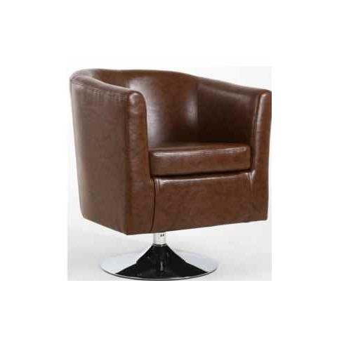 Shankar Antique Brown Leather Match Tub Chair
