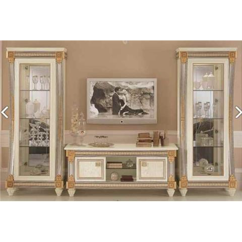 Arredoclassic Liberty Ivory with Gold Italian 4 Door TV Set Composition