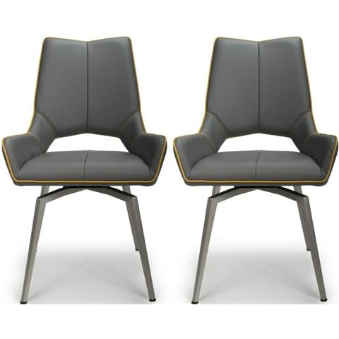 Shankar Mako Graphite Grey Leather Match Swivel Self Returning Accent Dining Chair (Pair)