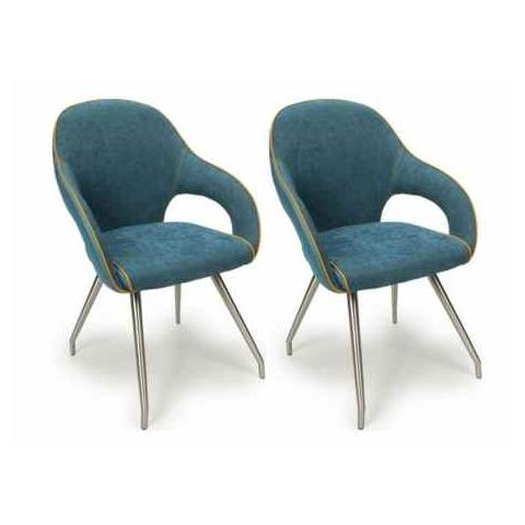 Shankar Stone Blue Leather and Chenille Dining Chair (Pair)
