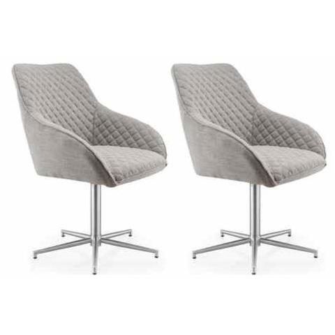 Shankar Wolf Grey Swivel Dining Chair (Pair)
