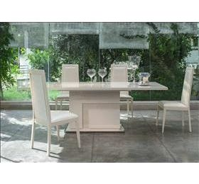 Ancona Italian Highgloss Beige Dining Table & 6 Chairs