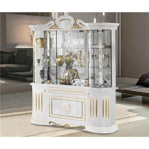 Ben Company Betty White and Gold Finish Italian 4 Door Display Cabinet