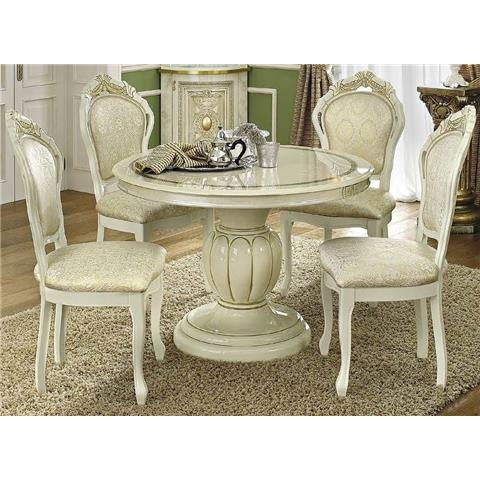 Camel Leonardo Italian Round Extending Dining Table and 4 Chairs