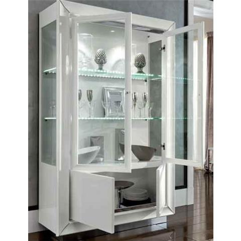 Camel Dama White Italian 4 Door Vitrine with 2 Lights
