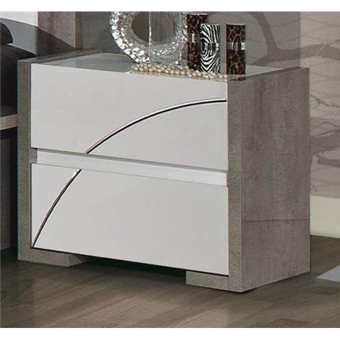 Milano Grey Highgloss 2 Door Bedside Cabinet