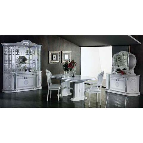 Venus White & Silver EXT Dining Table & 6 Chairs