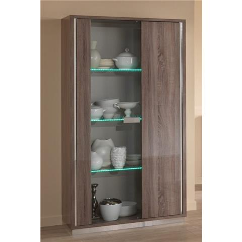 SAN MARTINO VICTOR OAK EFFECT TWO DOOR DISPLAY CABINET WITH LED LIGHT