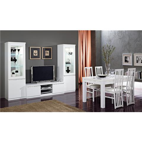 Roma White Highgloss Dining Tabe & 6 Chairs