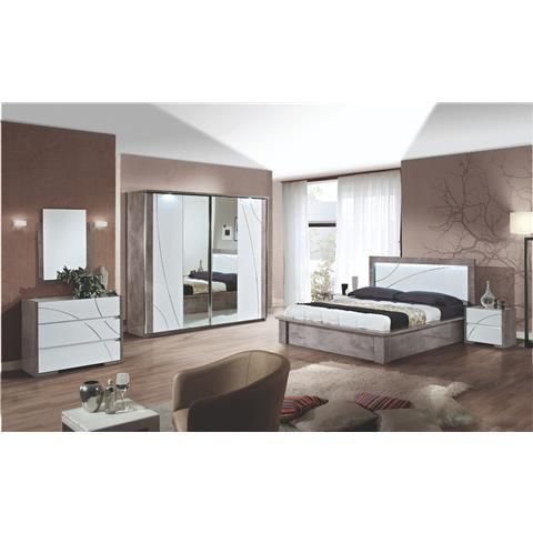 Milano Grey Highgloss 2 Door Sliding Bedroom Package Deal