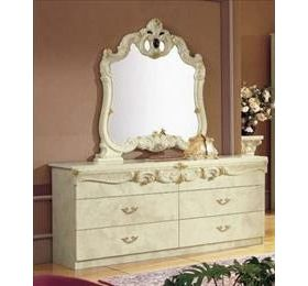 Camel Barocco Ivory Italian Double Dresser Set - 6 Drawers