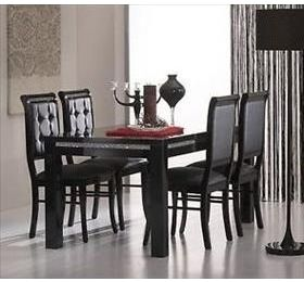 Prestige high gloss 160cm/190cm Dining Table with a diamanté trim with 4 chairs