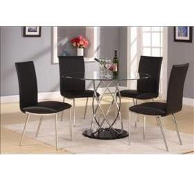 ECLIPSE ROUND CLEAR GLASS DINING SET