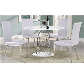 ECLIPSE ROUND WHITE GLASS DINING SET