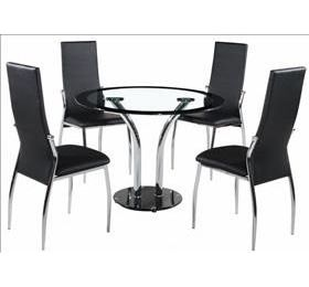 FARREN ROUND BLACK GLASS DINING SET