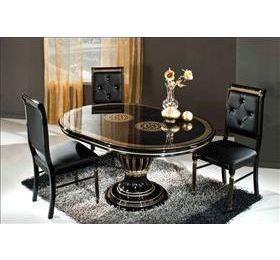 Rossella EXT Black & Gold Table + 4 Dining Chairs