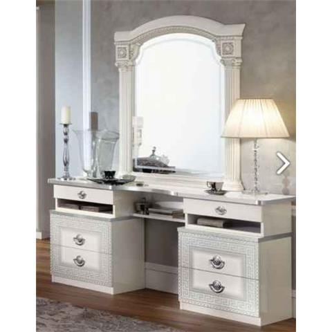 Camel Aida White and Silver Italian Vanity Dresser