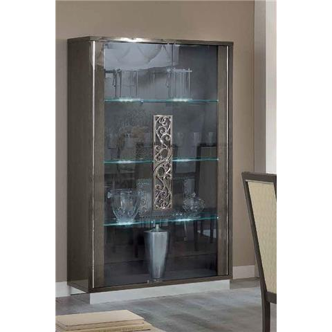 Camel Platinum Day Silver Birch Glamuor Italian Large Glass Cabinet
