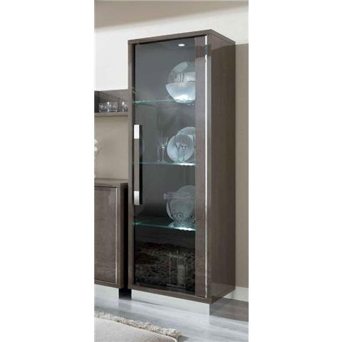 Camel Platinum Day Silver Birch Slim Italian Glass Cabinet