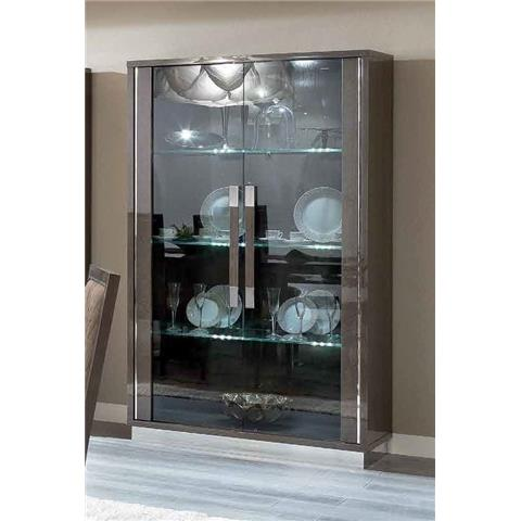 Camel Platinum Day Silver Birch Slim Italian Large Glass Cabinet