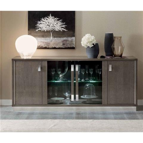 Camel Platinum Day Silver Birch Slim Italian Vitrine Buffet Sideboard with Glass Door