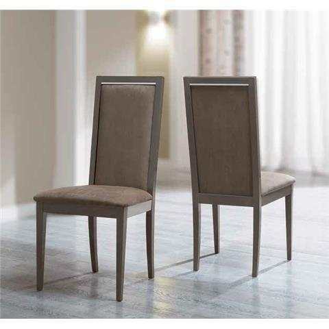 Camel Platinum Day Liscia Nabuk Upholstered Italian Dining Chair with Padded Back