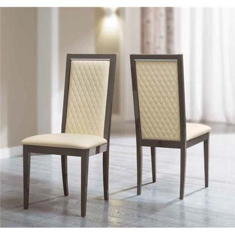 Camel Platinum Day Rombi Ivory Ecoleather Upholstered Italian Dining Chair with Padded Back