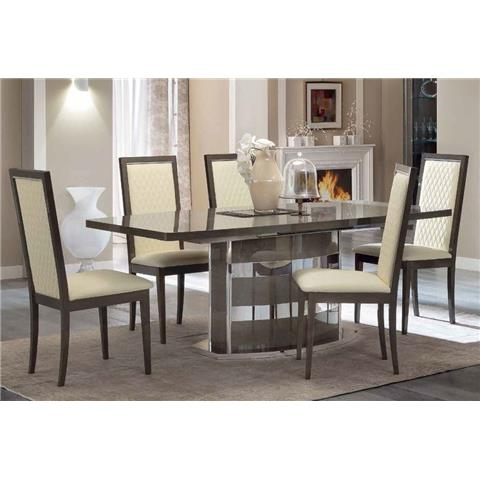 Camel Platinum Day Silver Birch Italian Butterfly Extending Dining Table and 6 Rombi Ivory Ecoleather Chairs
