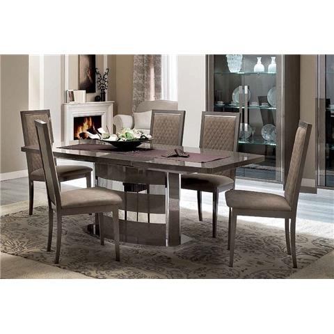 Camel Platinum Day Silver Birch Italian Butterfly Extending Dining Table and 6 Rombi Nabuk Chairs