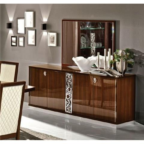 Camel Roma Day Walnut Glamour Italian Large Buffet Sideboard