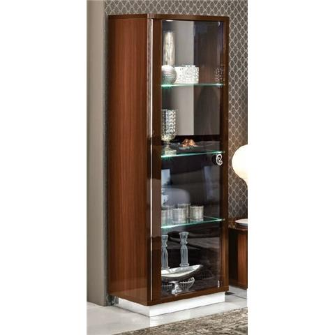 Camel Roma Day Walnut Glamuor Italian Left Hand Facing Glass Cabinet