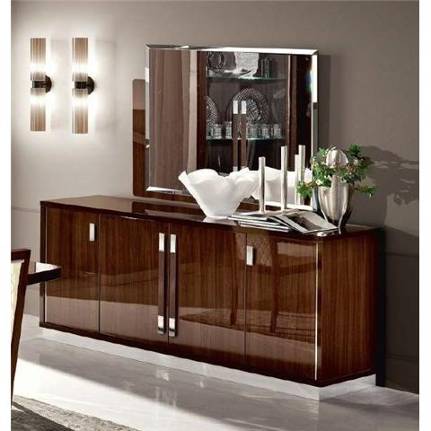 Camel Roma Day Walnut Slim Italian Large Buffet Sideboard