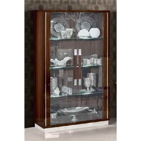 Camel Roma Day Walnut Slim Italian Large Glass Cabinet